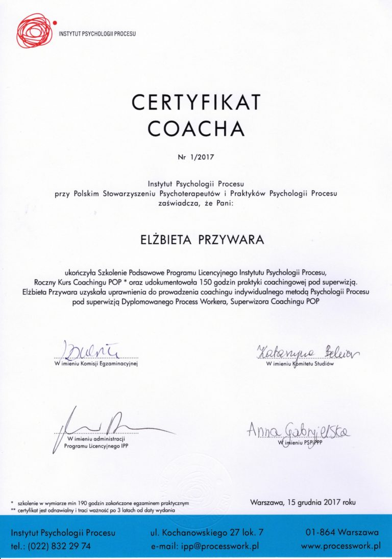Certyfikat Coacha