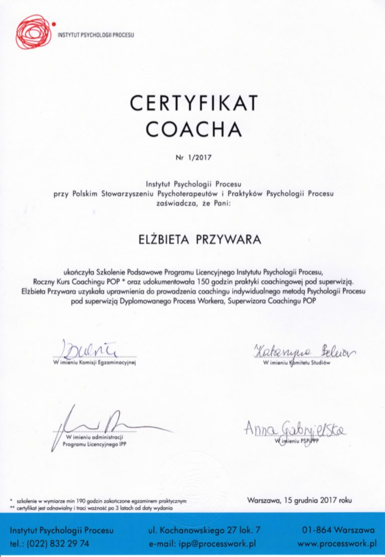 certyfikat coach psychologii procesu